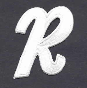 letter appliques iron on letters white script 2 letter r iron on embroidered applique 8205