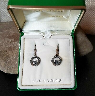NIB Signed Solvar Ireland Sterling Silver Marcasite Claddagh Lever Back Earrings