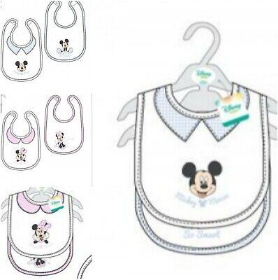 2 x Baby Mickey/Minnie Lätzchen PEVA Rückseite Baumwolle