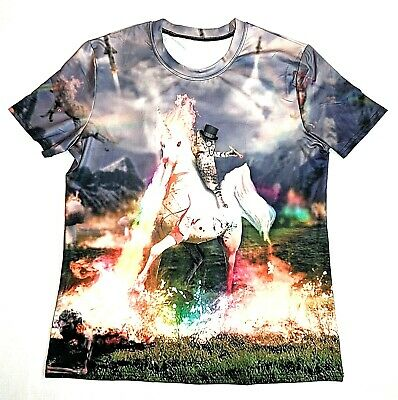 Evil Unicorn (Cat Riding Evil Unicorn Smoking Cigar T Shirt Unisex Size XL Goth Flames)