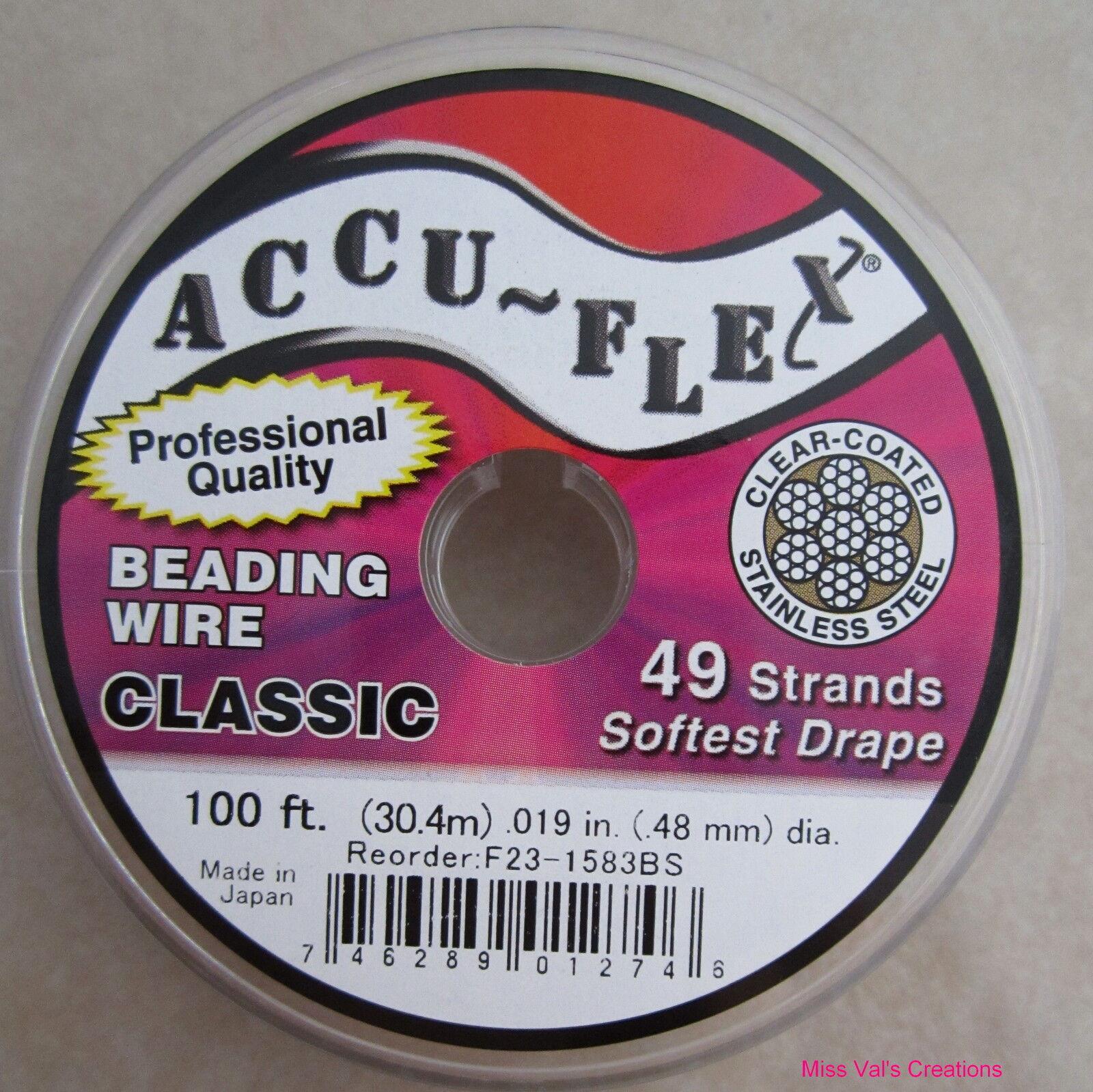 100' Accu-flex Steel Beading Jewelry Wire 49 Strand .019 Inch Width Accuflex