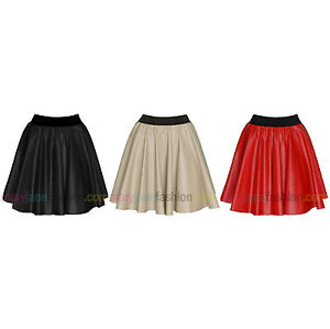 Ladies-Faux-Leather-PU-Pleather-High-Waist-Elasticated-Skater-Flared-Skirt-8-14