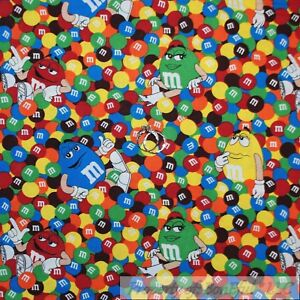 BonEful Fabric FQ Cotton Quilt VTG Brown Chocolate Candy M&M*s Primary Color Kid