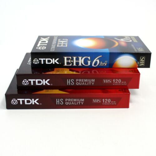 TDK New Factory Sealed Blank VHS T-120 Tapes, Lot of 3 -  Two  HS, One EHG