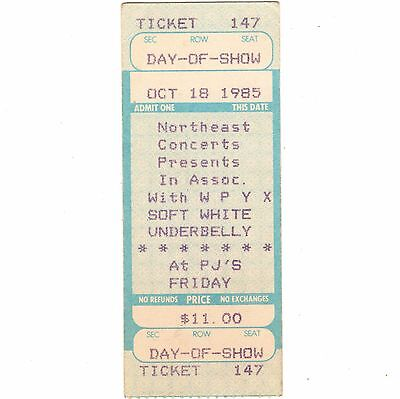 SOFT WHITE UNDERBELLY Concert Ticket Stub ALBANY NY 10/18/85 BLUE OYSTER CULT