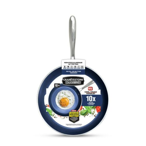 """Granitestone Blue 10"""" Ultra Nonstick Coating Fry Pan with Cool Touch Handles"""