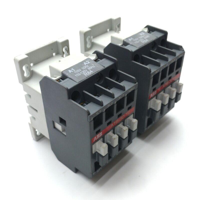 Lot of 2 ABB A16-30-10 Contactor, 4-Pole NO, 30A 690V Rating, 120VAC Coil