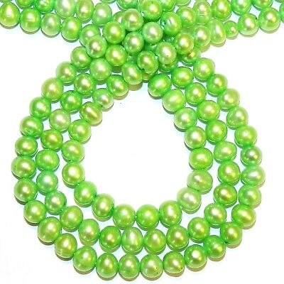 """NP540 Spring Green 6mm - 7mm Semi- Round Cultured Freshwater Pearl Beads 14"""""""