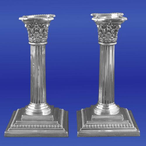 Antique Corinthian Column Candlesticks Silverplate Richard Hodd & Son London