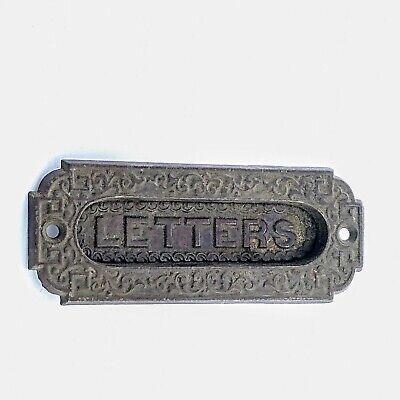 Vintage Antique Cast Brass Victorian Letters Mail Slot Door