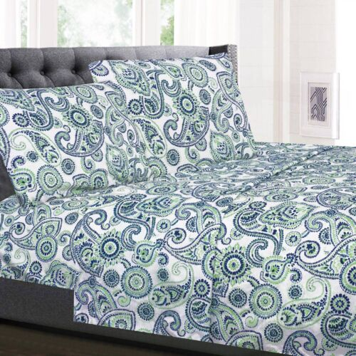 Modern Paisley Printed Blue/Green 4-Piece 1500 Supreme Collection Sheet Set Bedding