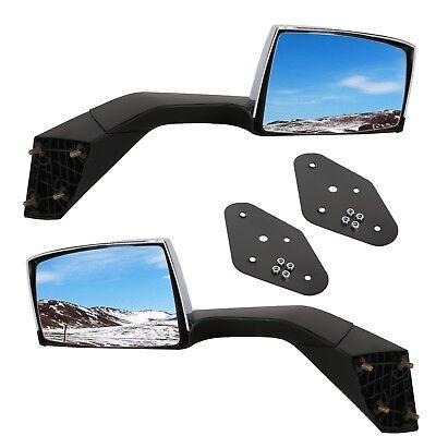 Truck Hood Mirror Mounting Plates w/Bracket Chrome Set For 04-16 Volvo Vnl Vn ()