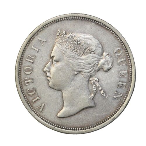 1887 British Straits Settlements Silver Fifty 50 Cents Queen Victoria KM#13 Read
