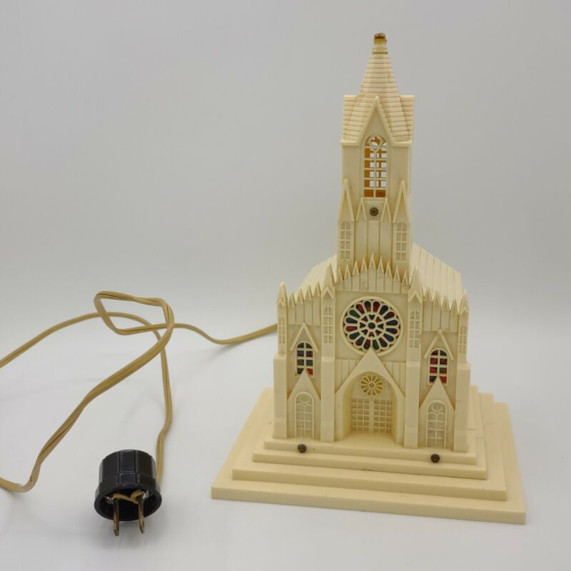 """Vintage Raylite Electric Co 9"""" Plastic Church Cathedral Light Up Music Box WORKS"""
