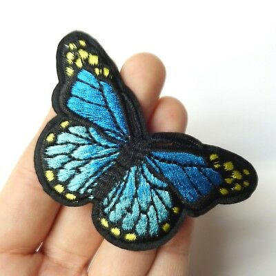 Blue Monarch Butterfly Patch Iron-On/Sew-On Embroidered Applique, 3