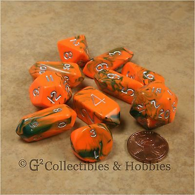 Used, NEW 10 Toxic Orange Green Hybrid RPG D&D Game Dice Set Crystal Caste D3 D4 D20+  for sale  Columbus