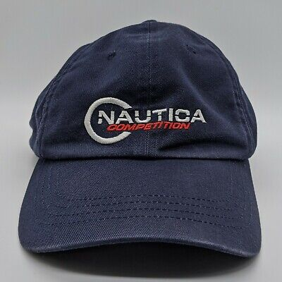 vtg NAUTICA Competition Embroidered Spell Out Logo Hat Strapback Dad Cap Blue