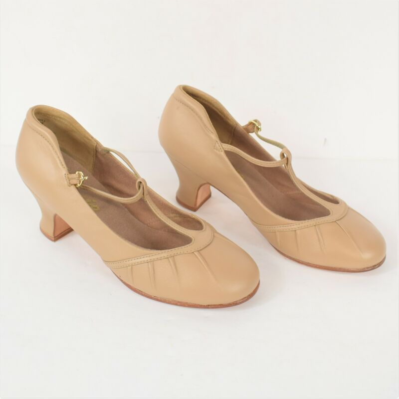 Capezio Womens T-Strap CG095 Caramel Tan Leather Character Shoes Heels New