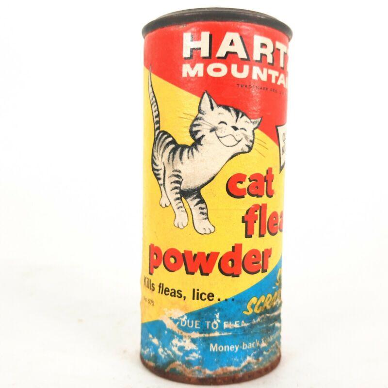 RARE *HARTZ* CAT FLEA POWDER SHAKER TIN- VINTAGE VETERINARY PET CARE