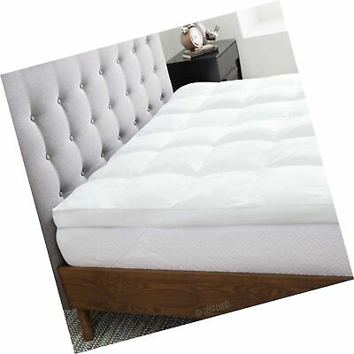 LUCID 3 Inch High Plush Down Alternative Fiber Bed Topper -