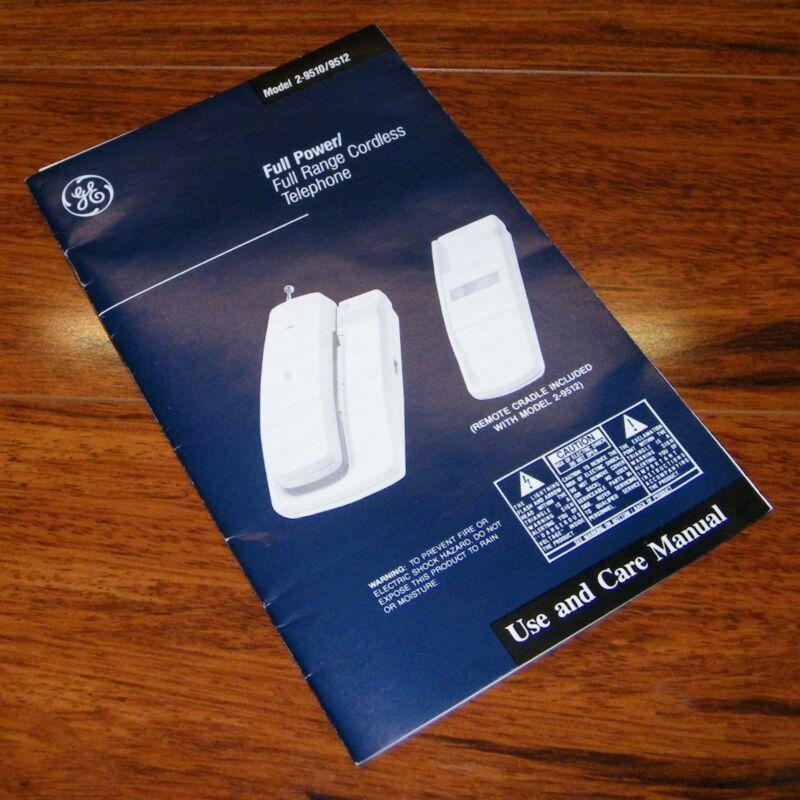 GE Full Power / Full Range Cordless Telephone **Manual ONLY** (2-9510 / 9512)