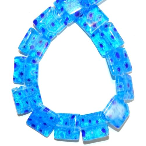 """G4045 Blue with Multiple Flower 14mm Flat Square Millefiori Glass Beads 14"""""""