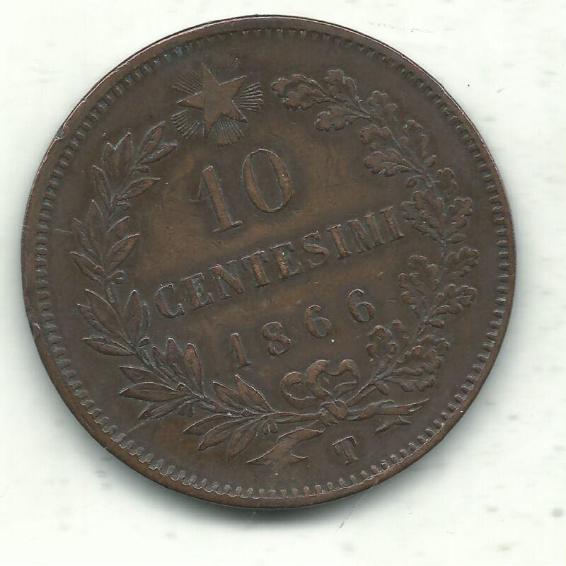 VERY NICE HIGHER GRADE  1866 T 10 CENTESIMI ITALY COIN-APR597