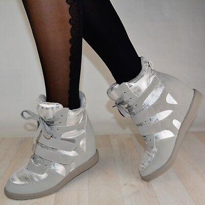 DAMEN SCHUHE SNEAKER HIGH-TOP SILBER WEISS GLITZER BOOTS STIEFEL FREIZEIT TURN (High-top Glitzer Sneaker)