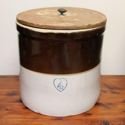 Antique Burley Winter Pottery Blue Heart 4 Gallon Brown & White Stoneware Crock