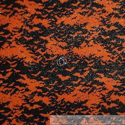 BonEful Fabric Cotton Quilt Orange Black BAT Glitter Dark Night Star Dot 1 SCRAP - Starfall Halloween