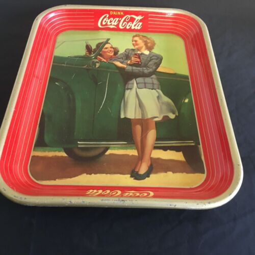 Coca Cola 1942 Two Girls at a Car Metal Serving Tray
