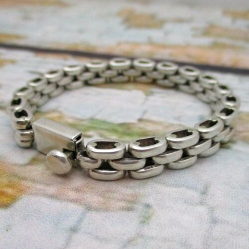 """Vintage SIGNED Sterling Silver MEXICO TAXCO Triple Chain Link 7.25"""" Bracelet"""