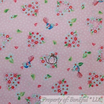 BonEful Fabric Cotton Quilt Pink White Little Flower Heart Small Love Bird SCRAP