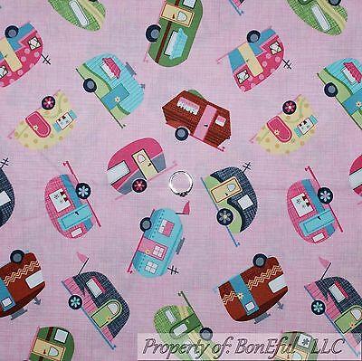 BonEful Fabric FQ Cotton Quilt Pink Girl RV Travel Trailer Camp Cabin Park Toile (Trailer Park Boys Costume)