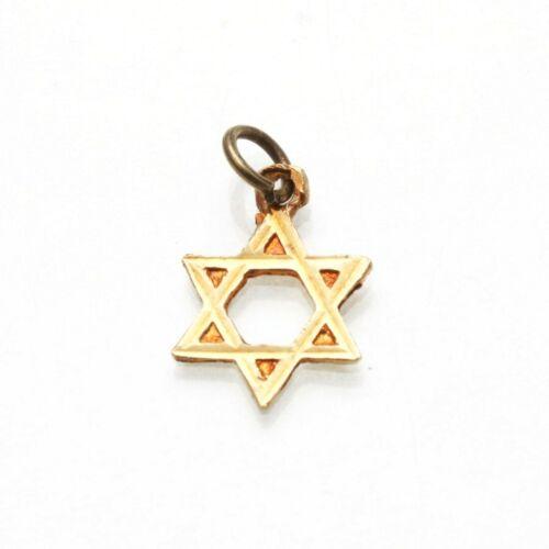 Vintage 14k Jewish Star of David Diamond Cut Pendant Small Estate