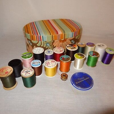 Sewing Box Mixed Lot 17 Thread Spools Different Colors Needles Bobbin