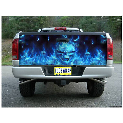 Skull Vinyl Graphic Decal (T13 FLAMING SKULL Tailgate Wrap Vinyl Graphic Decal Sticker LAMINATED )