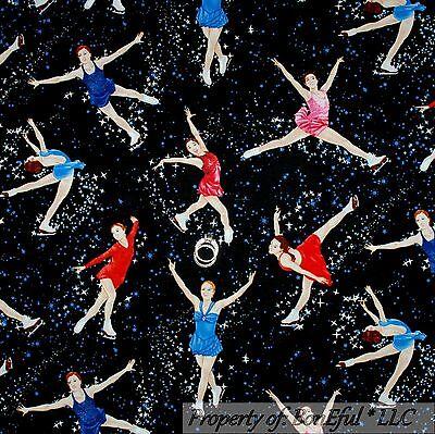 Novelty Dance Costumes (BonEful Fabric FQ Cotton Quilt Black Red White Blue B&W Ice Skate Girl Xmas)