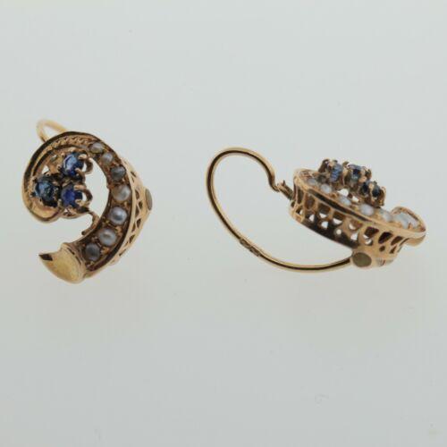 Victorian Sapphire & Natural Pearl Swirl Gold Drop Earrings
