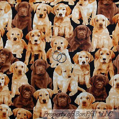 BonEful Fabric FQ Cotton Quilt Brown Dog Puppy Labrador Retriever Chocolate Gold