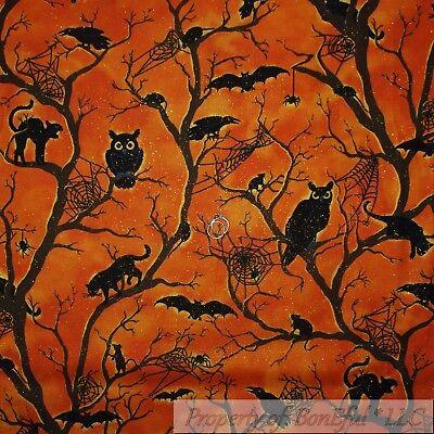 BonEful Fabric FQ Cotton Quilt Orange Fire Black Dark Night Tree Owl Bat Cat Rat - Halloween Cat Fabric
