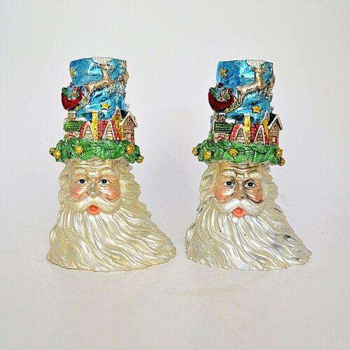 Pair Santa Taper  Christmas Candle Holders Resin
