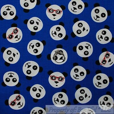 Asian Eye Glasses Costume (BonEful Fabric FQ Cotton Quilt Blue B&W Red Eye Glasses Boy Panda Bear China)