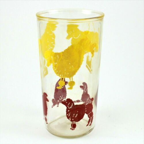 Rare Vintage Red & Yellow Circus Poodles Jelly  Drinking Glass - 1950