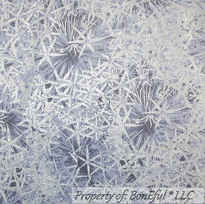 BonEful Fabric FQ Cotton Quilt Purple White Snowflake Silver Metallic Frozen Ice