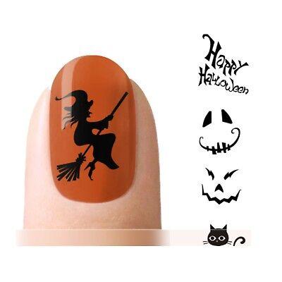 Halloween Nagel Sticker Nail Tattoo Aufkleber Hexe Katze schwarz
