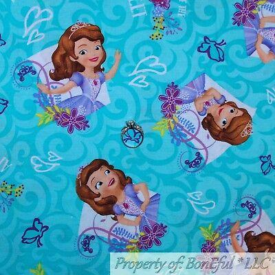 BonEful FABRIC FQ Cotton Quilt Aqua Blue Purple SOPHIA New Disney Princess - Purple Butterfly Movie