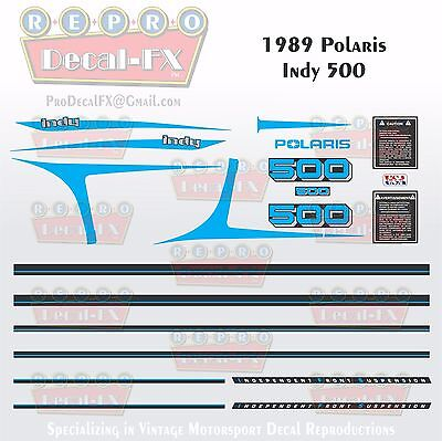 1989 Polaris Indy 500 Graphics Repro 22Pc Snowmobile incl Tunnel & IFS Decals