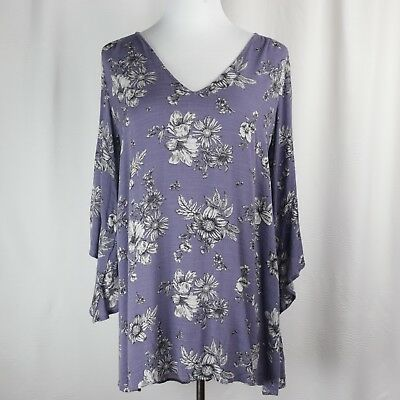 (Womens Lush S Floral Mini Dress Tunic Top Open Back Bell Sleeve Shirtdress Small)