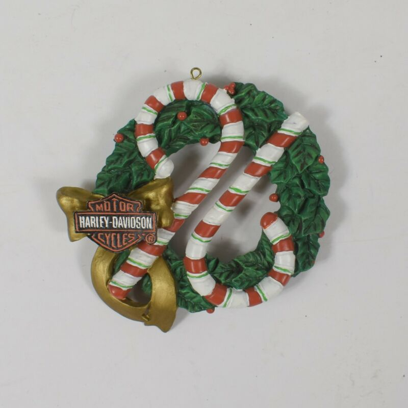 Harley-Davidson 1996 Christmas Holiday Wreath Candy Cane Ornament Used